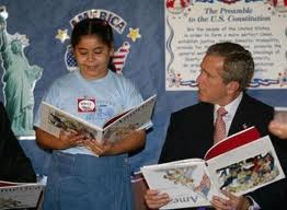 In fairness to President Bush, he did not really read a book upside down. The photo was manipulated.In fairness to America, Bush got  us into a needless war in Iraq that took the lives of over 4,000 soldiers and cost America well over a trillion dollars.