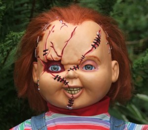 This Chuckie doll has been modified by the owner to make Chuckie look even scarier. How sweet!