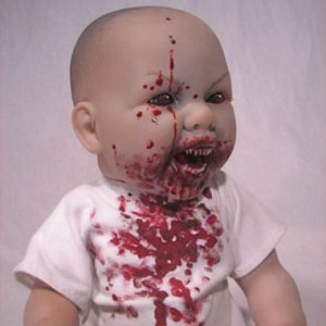 Meet cuddly little Baby Arvin. This doll is not so horrible to look at if you imagine that's ketchup on his infant shirt. Unfortunately, it's not