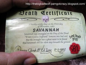 Living Dead Doll Death Certificate