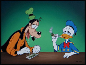 "And in a painting entitled, ""Stay Happy,"" Donald Duck gets downright Goofy smokin' weed with the often-drooling, misbehavin' pooch."