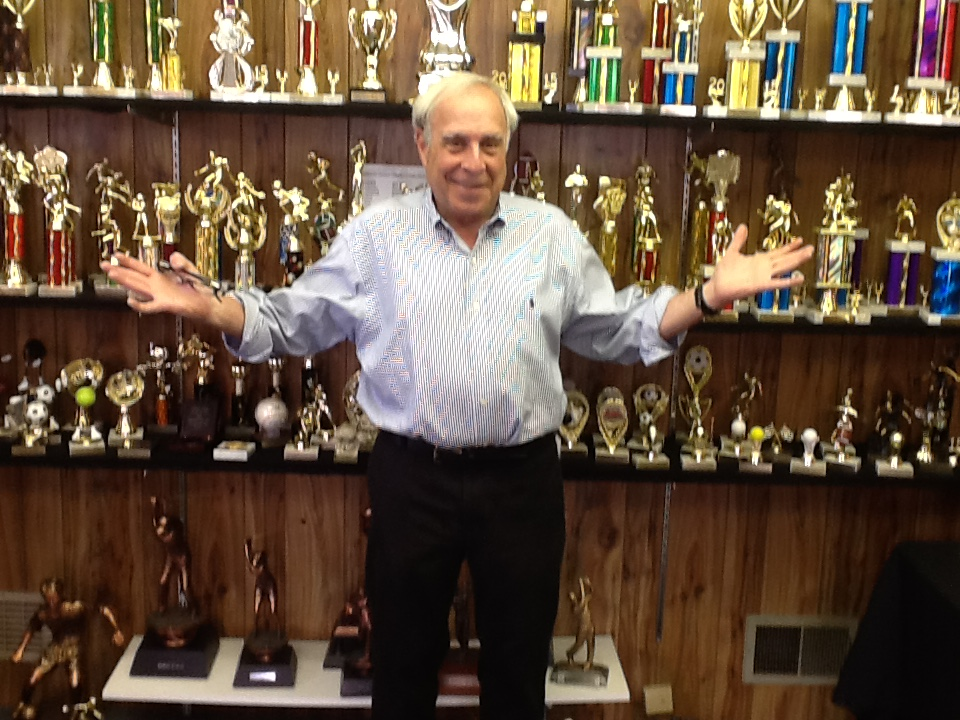 Jack Goldenberg in trophy room
