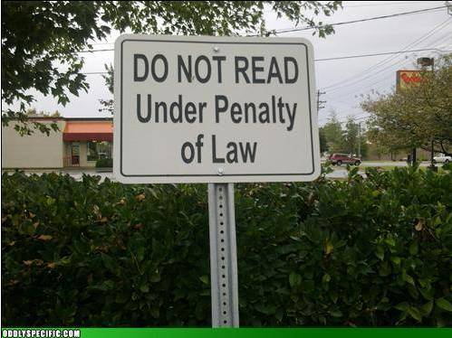 Do Not Read sign
