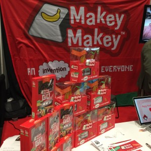 A stack of invention kits at the Makey Makey booth at Toy Fair 2016