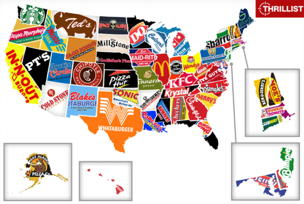 The Fast Food Map of the United States