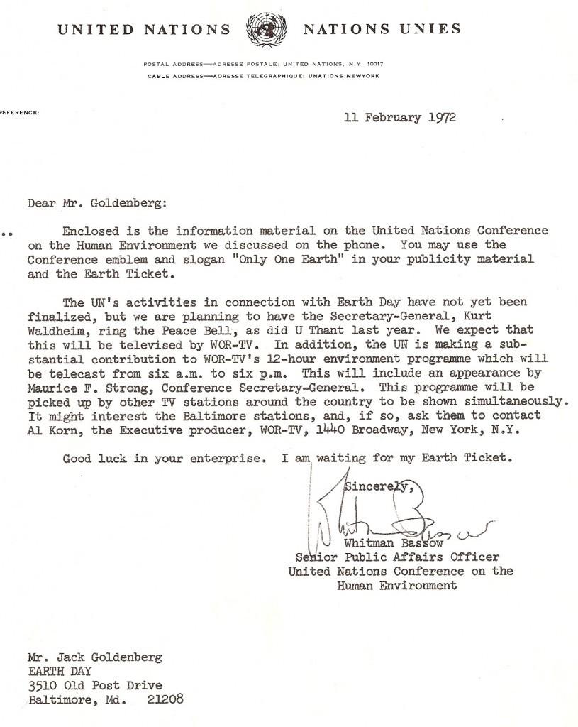 UN letter to Jack Goldenberg