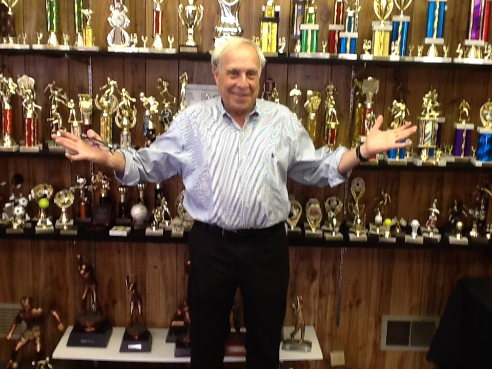 Jack Goldenberg in trophy room