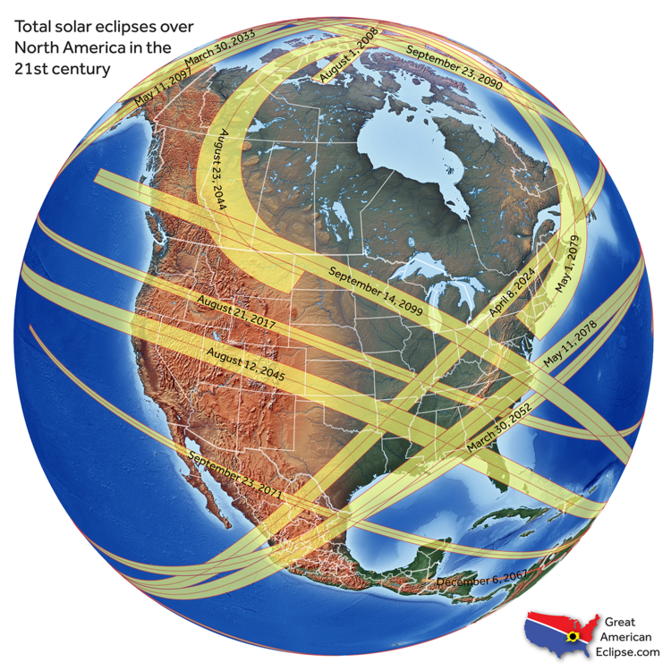 Total solar eclipses that can be seen in North America in the 21st Century